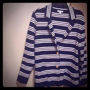 EUC Large Cotton Navy Blue and White Blazer